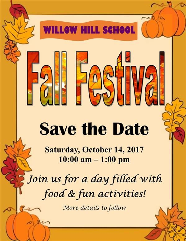 Save the Date: FALL FESTIVAL