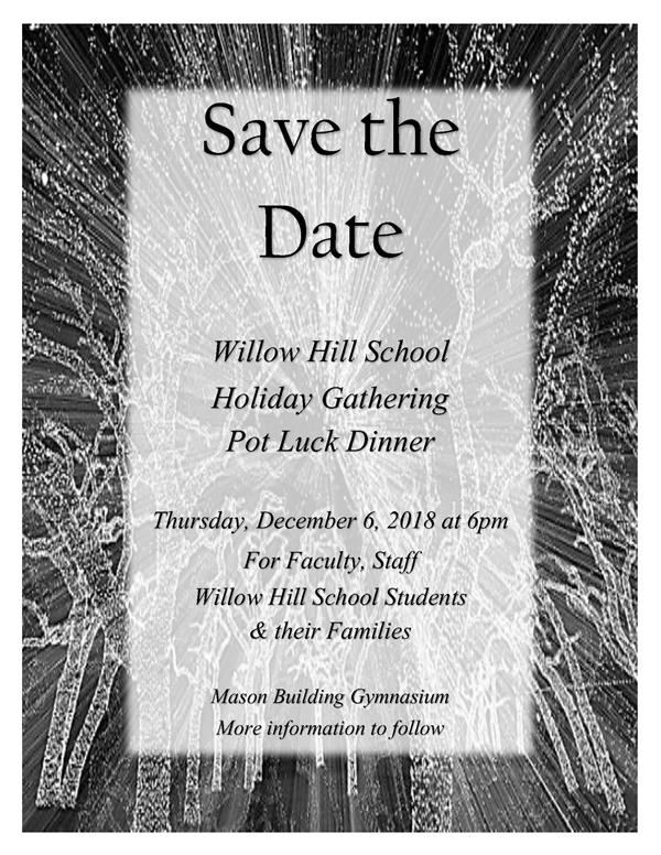 SAVE THE DATE ~ Holiday Gathering & Pot Luck