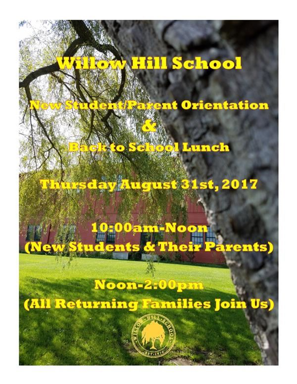 New Student/Parent Orientation & Back to School Lunch!